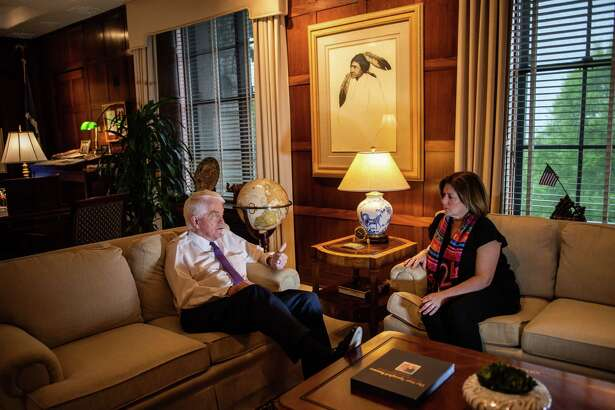 Tom Donohue, president and CEO of the U.S. Chamber of Commerce, speaks to Suzanne Clark, the senior executive vice president, in his office.