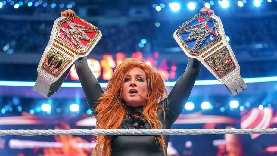 WWE Superstar Becky Lynch celebrates her title triumph at WrestleMania 35, which was held April 7, 2019, in East Rutherford, N.J. Photo: Courtesy Of WWE /