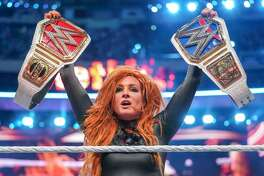 WWE Superstar Becky Lynch celebrates her title triumph at WrestleMania 35, which was held April 7, 2019, in East Rutherford, N.J.
