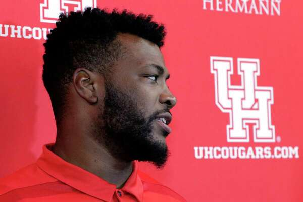 Cougars' Josh Jones answers questions from media during the University of Houston football media day Thursday, Aug. 2, 2018 at the Carl Lewis Auditorium on the campus in Houston, TX. Michael Wyke/Contributor