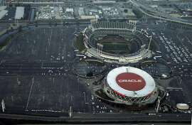 Aerial view of the O.co Coliseum/Oracle Arena complex in Oakland, Calif., on Wednesday, January 14, 2015.