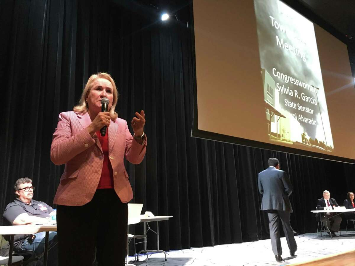 U.S. Rep. Sylvia Garcia, D-Houston, addresses more than 100 attendees of a town hall meeting Wednesday at Milby High School in southeast Houston to update the community on the chemical holding plant fire in Deer Park in March 2019.