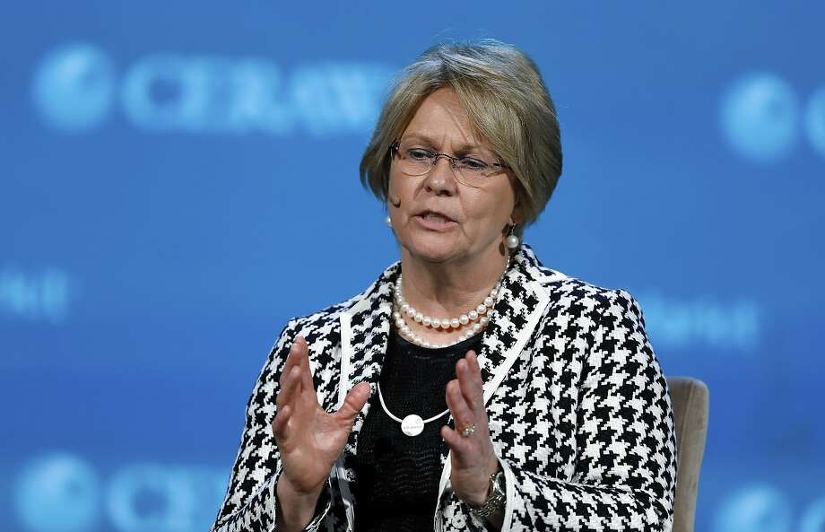 Vicki Hollub, president and CEO of Occidental Petroleum Corp., during the 2017 CERAWeek by IHS Markit conference in Houston ON March 7, 2017. Hollub was among the energy company executives participating in Climate Week in New York on Sept. 23, 2019. Photo: Aaron M. Sprecher, Bloomberg
