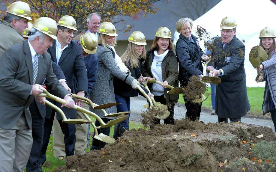 Members of the building committee participate in a ceremonial grounbreaking at Shepaug Valley School in Washington for its agriscience and science lab renovation and construction project Friday, Nov. 9, 2018. Photo: Carol Kaliff / Hearst Connecticut Media / The News-Times
