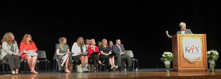 Katy ISD Board President Courtney Doyle made the announcement at an morning award  ceremony Thursday, April 25, 2019, that Katy Independent School District has been named by The College Board the  Advanced Placement Large District of the Year. Photo: Michelle Iracheta, Staff Photo