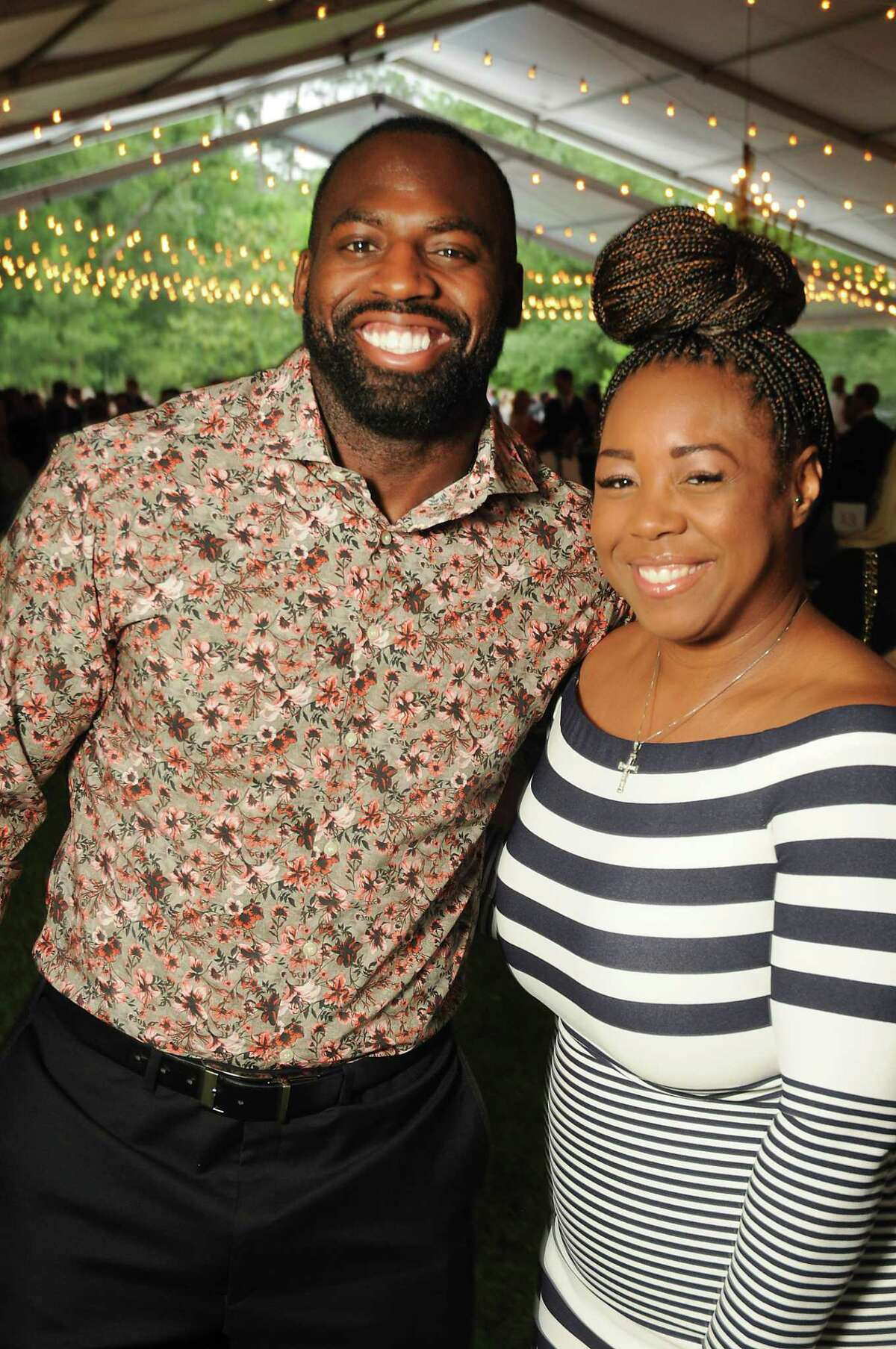 Whitney Mercilus and Tamara Washington at the Small Steps annual wine classic at the Bayou Club Wednesday April 24, 2019. (Dave Rossman Photo)