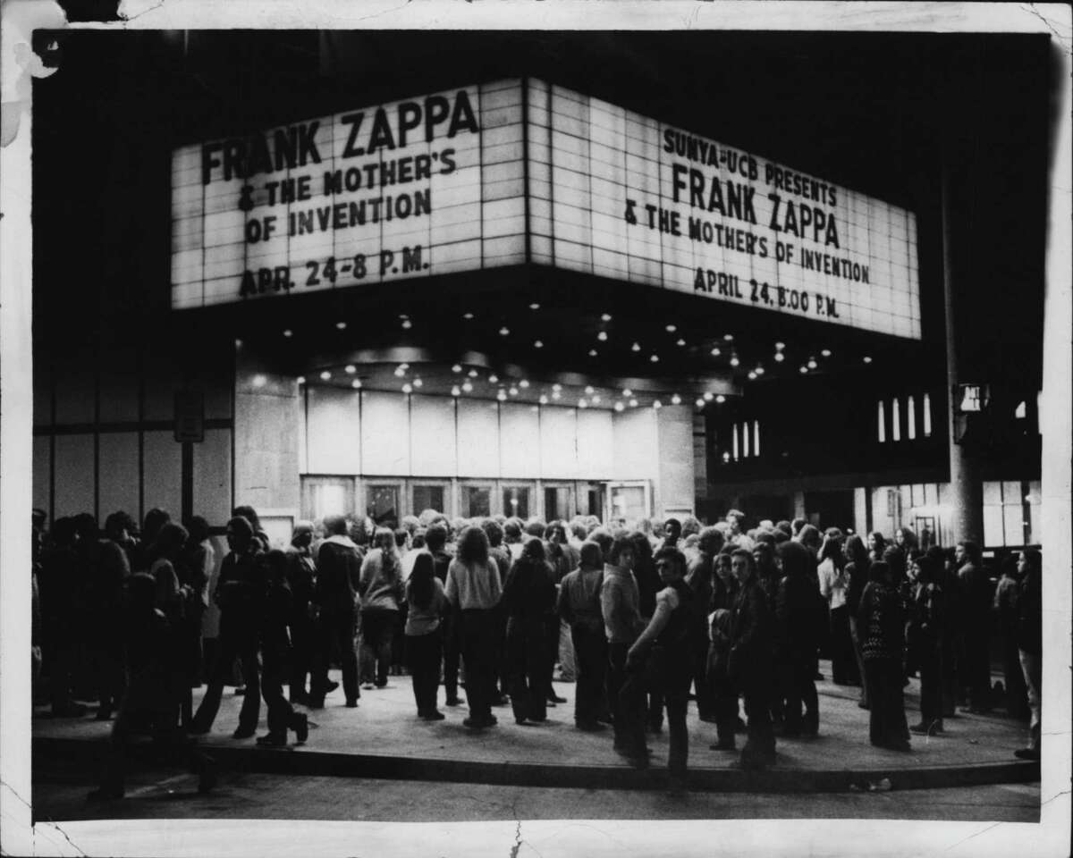 Large crowd gathers outside Palace Theater for Frank Zappa event. April 26, 1975 (Times Union Archive)