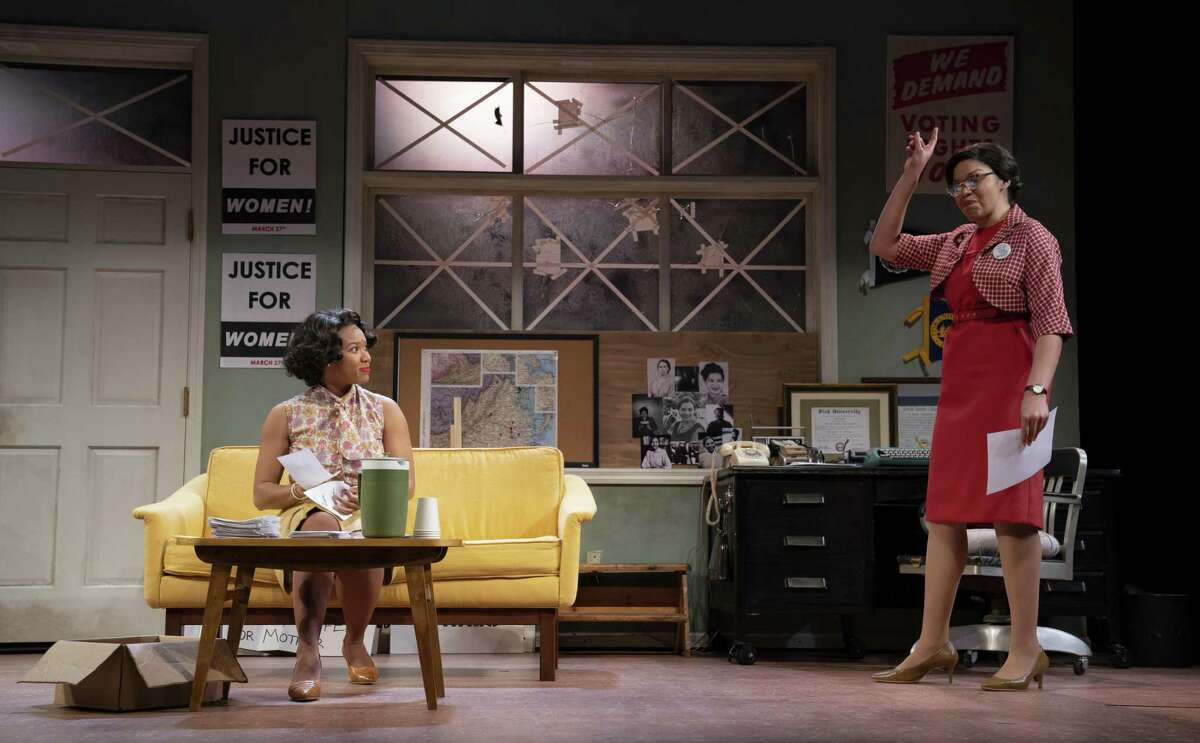 """Dria Brown, left and Chalia La Tour in """"Cadillac Crew"""" at Yale Rep."""