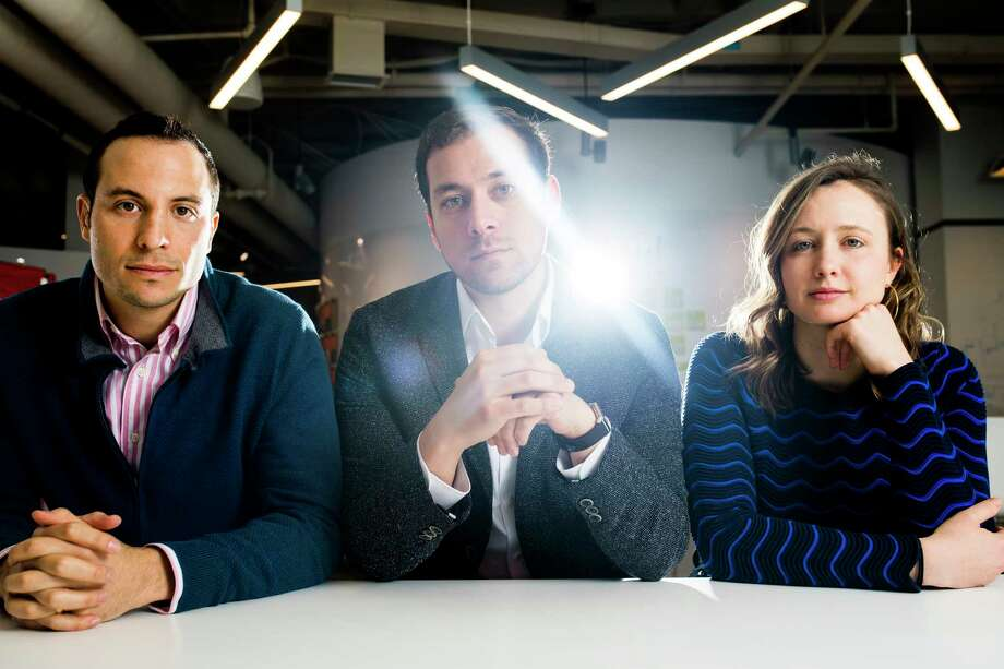 The founders of Legacy, a sperm-freezing company based at the Harvard Innovation Labs in Cambridge, Mass., include Daniel Madero, head of clinic partnerships; Khaled Kteily, chief executive; and Sarah Steinle, head of marketing. Photo: Photo For The Washington Post By Adam Glanzman / Adam Glanzman