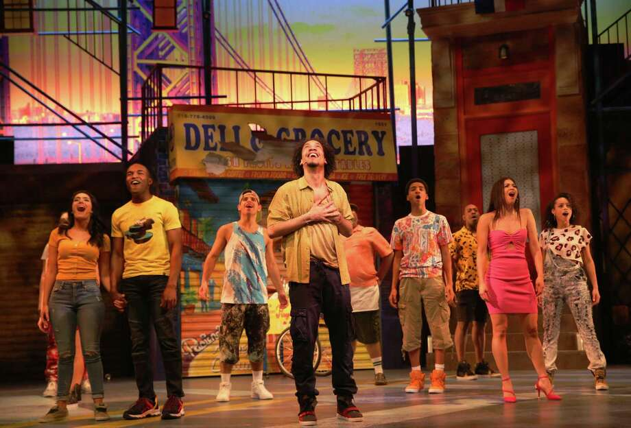"The cast of Westport Country Playhouse's ""In the Heights"" features Didi Romero, left, Gerald Caesar, Edward Cuellar, Rodolfo Soto, Ezequiel Pujols, Randy Castillo, Nina Victoria Negron and Sarita Colon. The run has been extended through May 19. Photo: Carol Rosegg / Contributed Photo"