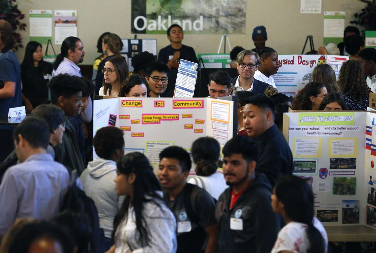 More than 100 students from grade schools throughout the region present their urban planning projects at the Y-PLAN Policy Summit at the International House in Berkeley, Calif. on Thursday, April 25, 2019.