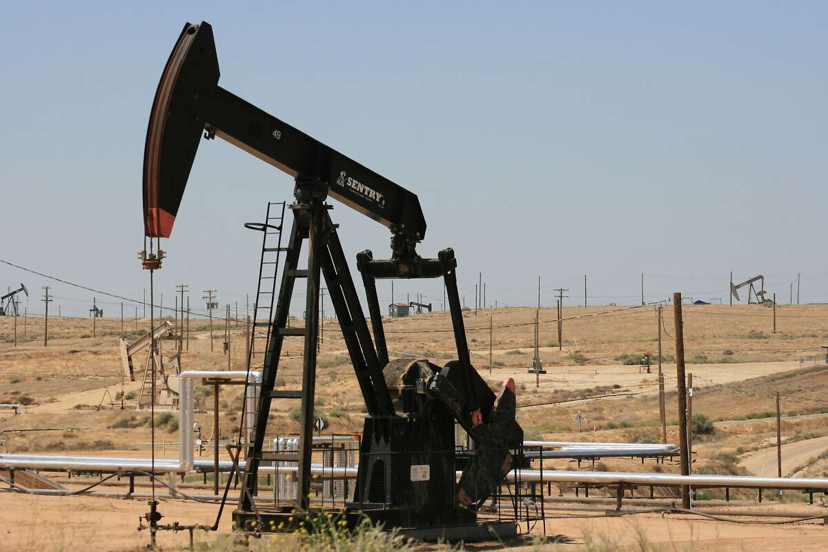 A pump jack pulls oil out of the ground near Bakersfield, California.