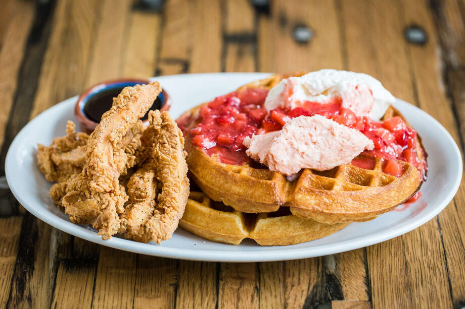 a'BouzyAddress: 2300 WestheimerBrunch: 10 a.m. to 6 p.m. The delicious late-morning options at this refined River Oaks bistro include eggs Benedict, chicken Florentine crepes and the Strawberry and Waffles (pictured) served with a side of fried chicken strips. Photo: Becca Wright