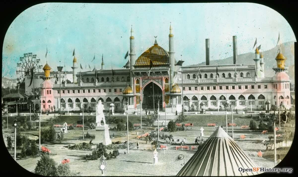The 1894 Midwinter Fair in Golden Gate Park. The colorized image shows the view south across the Music Concourse and Columbus Statue to Mechanical Arts Building.