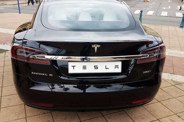 A 2018 Tesla Model S parked in Menton on the French Riviera.