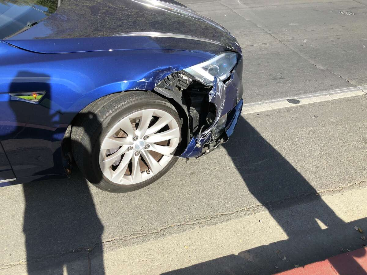 Craig Hedges' 2016 Model S suffered moderate body and suspension damage in a low-speed collision in October. It still hasn't been repaired, the Burlingame man says. (Photo courtesy of Craig Hedges)