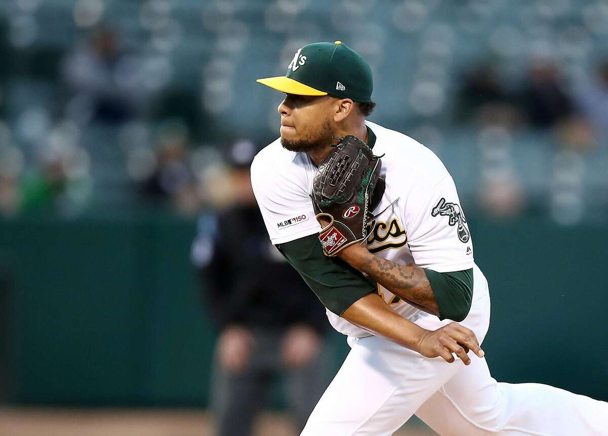 OAKLAND, CALIFORNIA - APRIL 17: Frankie Montas #47 of the Oakland Athletics pitches against the Houston Astros in the first inning at Oakland-Alameda County Coliseum on April 17, 2019 in Oakland, California. (Photo by Ezra Shaw/Getty Images)