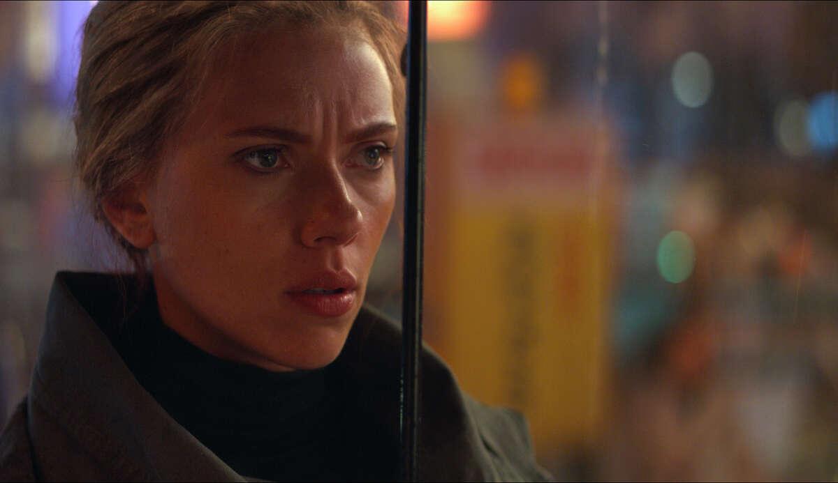 """This image released by Disney shows Scarlett Johansson in a scene from """"Avengers: Endgame."""" (Disney/Marvel Studios via AP)"""