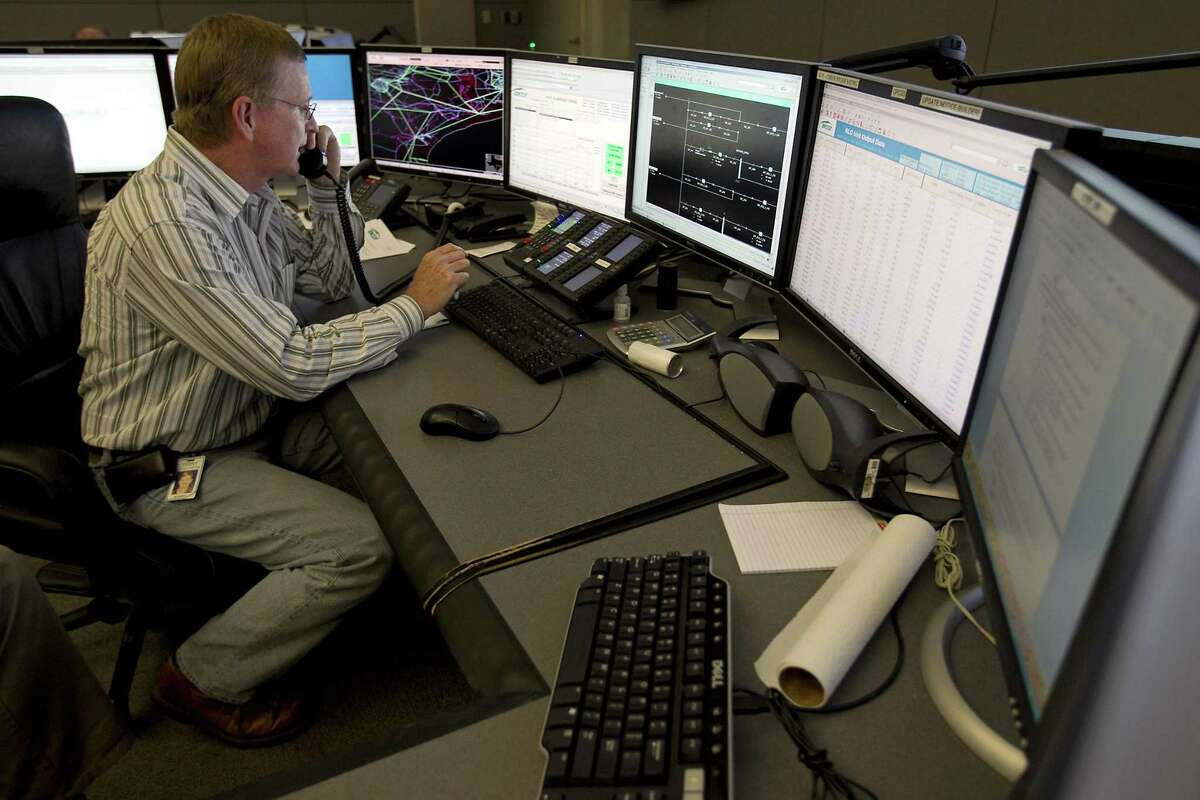 The Ercot command center in Taylor. Terry Holden is a system operator in Taylor, working in the command center.