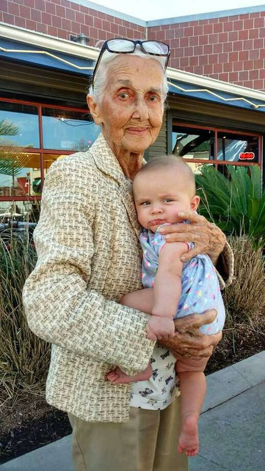 Marie Rosen holds her great-granddaughter Emma Marie Rosen. The family of the 97-year-old woman killed two years ago when she was struck by a garbage truck at a west Houston intersection will get $250K in a settlement from the city. Photo: Courtesy Of Rosen Family / handout