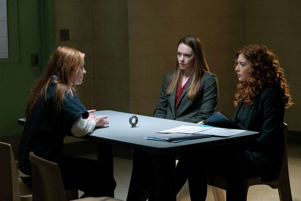 """PROVEN INNOCENT: L-R: Guest star Samantha Sloyan, guest star Annie Munch and Rachelle Lefevre and Russell Hornsby in the """"Shaken"""" episode of PROVEN INNOCENT airing Friday, April 26 (9:00-10:00 PM ET/PT) on FOX. (c)2019 Fox Media LLC Cr: Jean Whiteside/FOX"""