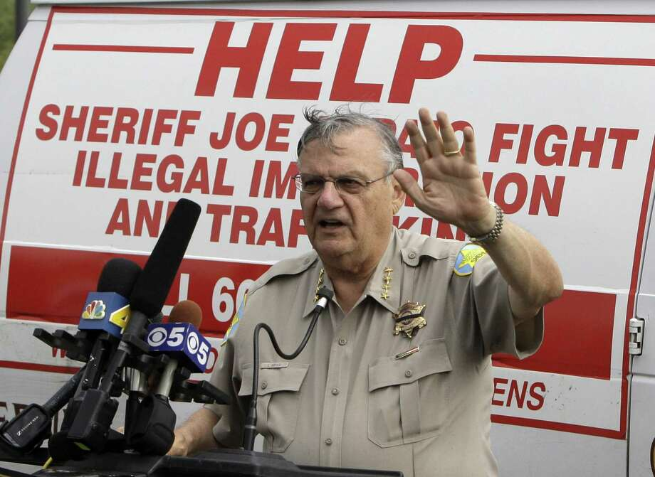 The trumped up charges on immigrant crime led to racial profiling, a feat that Maricopa County Sheriff Joe Arpaio — no longer sheriff — bragged about. Here, he is shown in 2010. Photo: Ross D. Franklin /Associated Press / Copyright 2010 The Associated Press. All rights reserved.