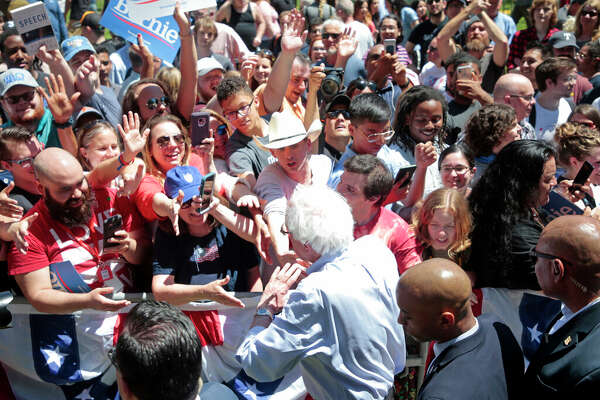 Democratic Presidential candidate Bernie Sanders greets supporters at rally in Fort Worth