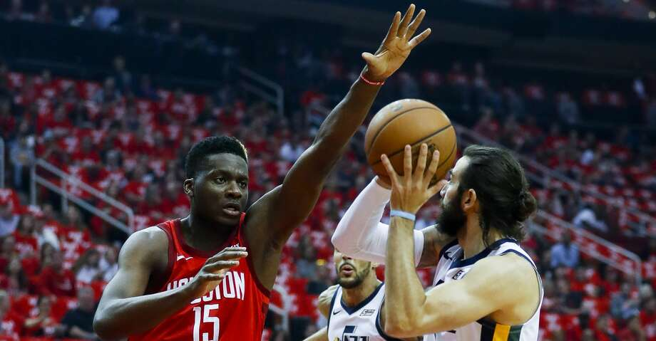 PHOTOS: Rockets-Jazz Game 5 Houston Rockets center Clint Capela (15) defends Utah Jazz guard Ricky Rubio (3) during the first quarter of Game 5 of an NBA first round playoff series at Toyota Center in Houston, Wednesday, April 24, 2019. Browse through the photos to see action from the Rockets' Game 5 win over the Jazz on Wednesday. Photo: Karen Warren/Staff Photographer