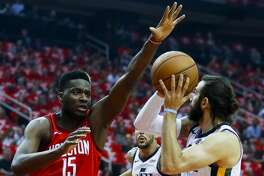 Houston Rockets center Clint Capela (15) defends Utah Jazz guard Ricky Rubio (3) during the first quarter of Game 5 of an NBA first round playoff series at Toyota Center in Houston, Wednesday, April 24, 2019.
