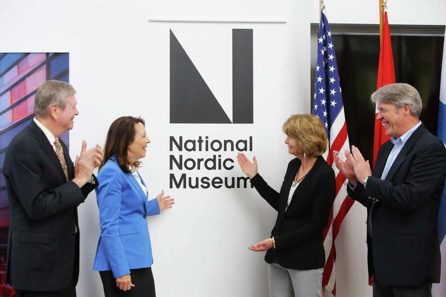 From left, board president Tom Malone, U.S. Senator Maria Cantwell (D-WA), U.S. Senator Lisa Murkowski (R-AK) and museum CEO Eric Nelson participate in a ceremony revealing the Nordic Museum's new designation as the National Nordic Museum, Thursday, April 25, 2019. The Senators worked together on a bipartisan public lands package that promoted the museum to its new status. Photo: Genna Martin, Seattlepi.com / GENNA MARTIN