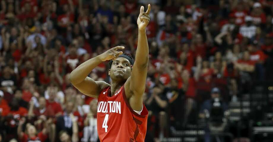 PHOTOS: Rockets-Jazz Game 5 Danuel House Jr. #4 of the Houston Rockets reacts after a three point shot in the second half against the Utah Jazz during Game Five of the first round of the 2019 NBA Western Conference Playoffs between the Houston Rockets and the Utah Jazz at Toyota Center on April 24, 2019 in Houston, Texas. (Photo by Tim Warner/Getty Images) Browse through the photos to see action from the Rockets' Game 5 win over the Jazz on Wednesday. Photo: Tim Warner/Getty Images