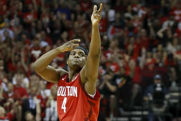 HOUSTON, TX - APRIL 24: Danuel House Jr. #4 of the Houston Rockets reacts after a three point shot in the second half against the Utah Jazz during Game Five of the first round of the 2019 NBA Western Conference Playoffs between the Houston Rockets and the Utah Jazz at Toyota Center on April 24, 2019 in Houston, Texas. NOTE TO USER: User expressly acknowledges and agrees that, by downloading and or using this photograph, User is consenting to the terms and conditions of the Getty Images License Agreement. (Photo by Tim Warner/Getty Images)