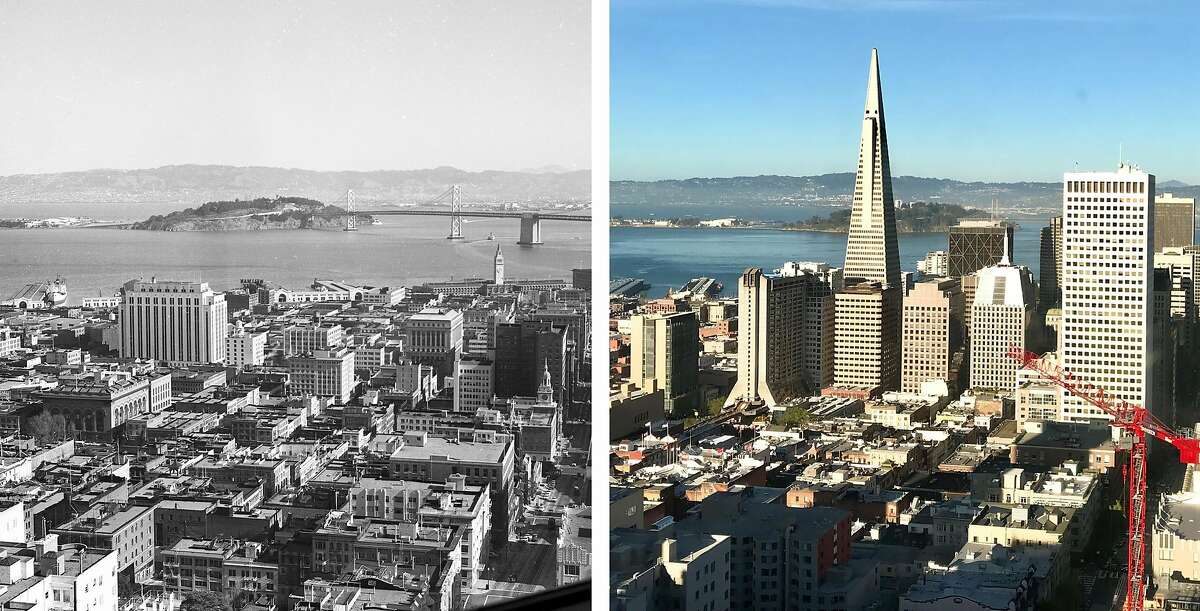 A view of downtown San Francisco from the Top of the Mark nightclub at the Mark Hopkins hotel in 1954 and 2019.