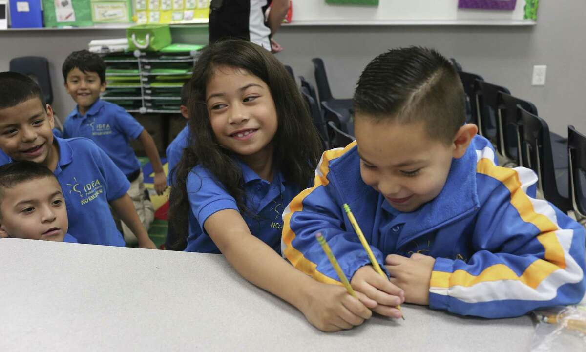 In this 2017 file photo, Andromeda Tuiasosopo left, and Luis Chavez, act out part of a kindergarten English lesson at IDEA Monterrey Park on the city's West Side, Thursday, Oct. 5, 2017. IDEA Public Schools received a $67 million grant from the U.S. Department of Education that will allow it to expand.