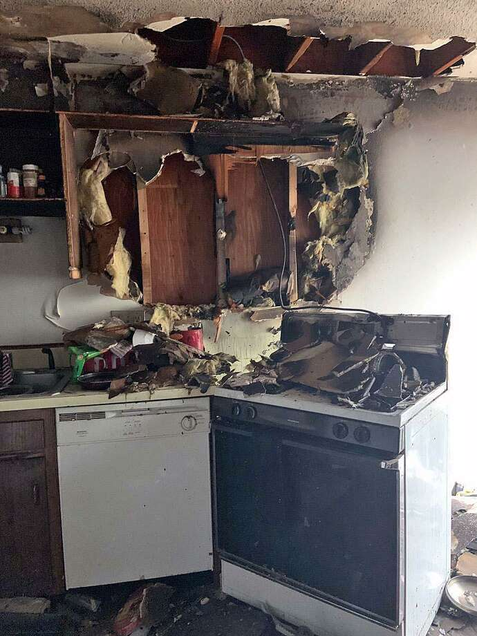 A fire in Hamden, Conn., displaced a family of three on April 25, 2019. Photo: Contributed Photo / Hamden Fire Department / Contributed Photo / Connecticut Post Contributed
