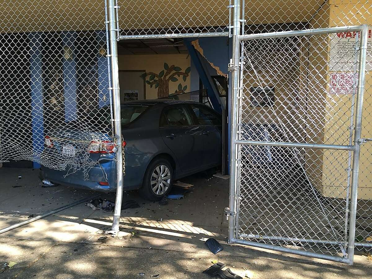 A motorist was arrested after police say they intentionally crashed astolenvehicle intothe Highland Children's Center located at1300 block of 86thAvenue inOakland on Thursday, April 25, 2019.