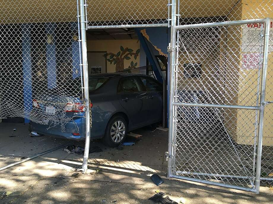 A motorist was arrested after police say they intentionally crashed astolenvehicle intothe Highland Children's Center located at1300 block of 86thAvenue inOakland on Thursday, April 25, 2019. Photo: Courtesy Of Oakland Police Department /