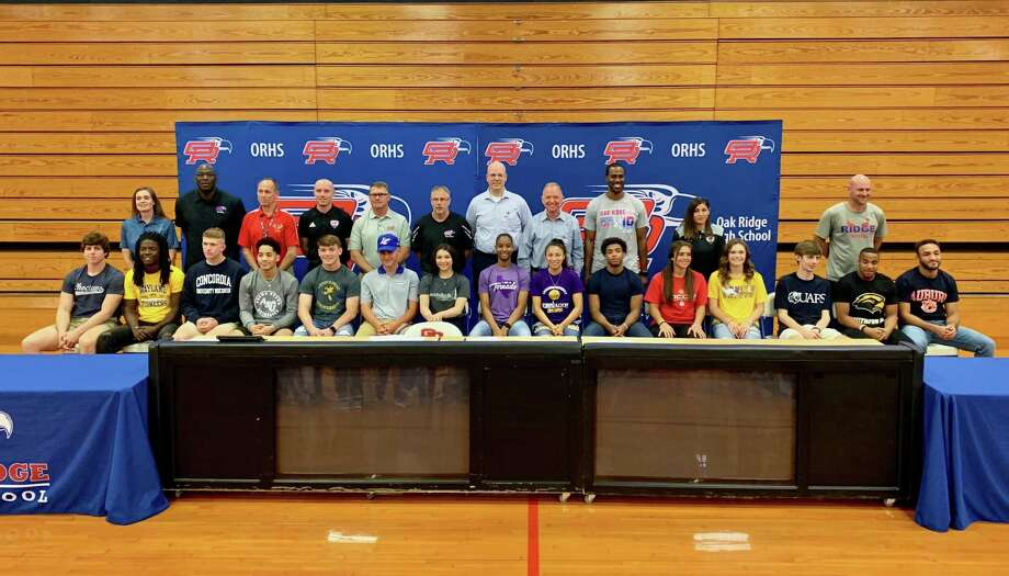 Fifteen student-athletes at Oak Ridge celebrated their college commitments on Thursday. Photo: Ted Bell