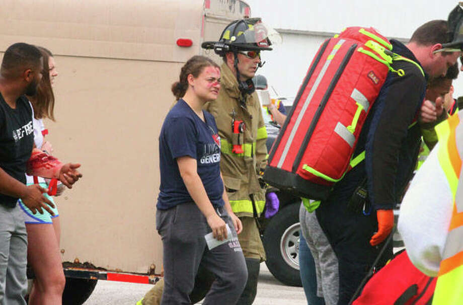 Emergency personnel respond to a training exercise Thursday at Jacksonville Airport. Photo: Samantha McDaniel-Ogletree | Journal-Courier