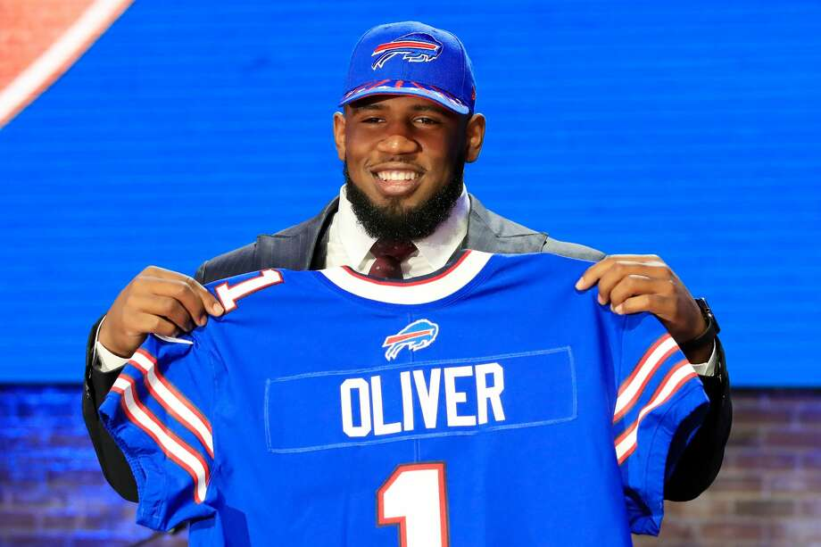 NASHVILLE, TENNESSEE - APRIL 25: Ed Oliver of Houston reacts after being chosen #9 overall by the Buffalo Bills during the first round of the 2019 NFL Draft on April 25, 2019 in Nashville, Tennessee. (Photo by Andy Lyons/Getty Images) Photo: Andy Lyons/Getty Images