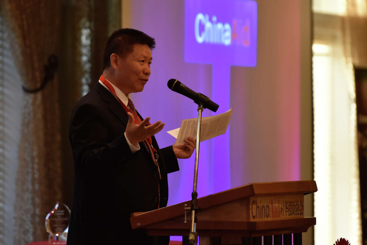 Dr. Bob Fu, Founder and President of the ChinaAid Association, speaks during the ChinaAid banquet April 25, 2019, at Midland Country Club. James Durbin/Reporter-Telegram