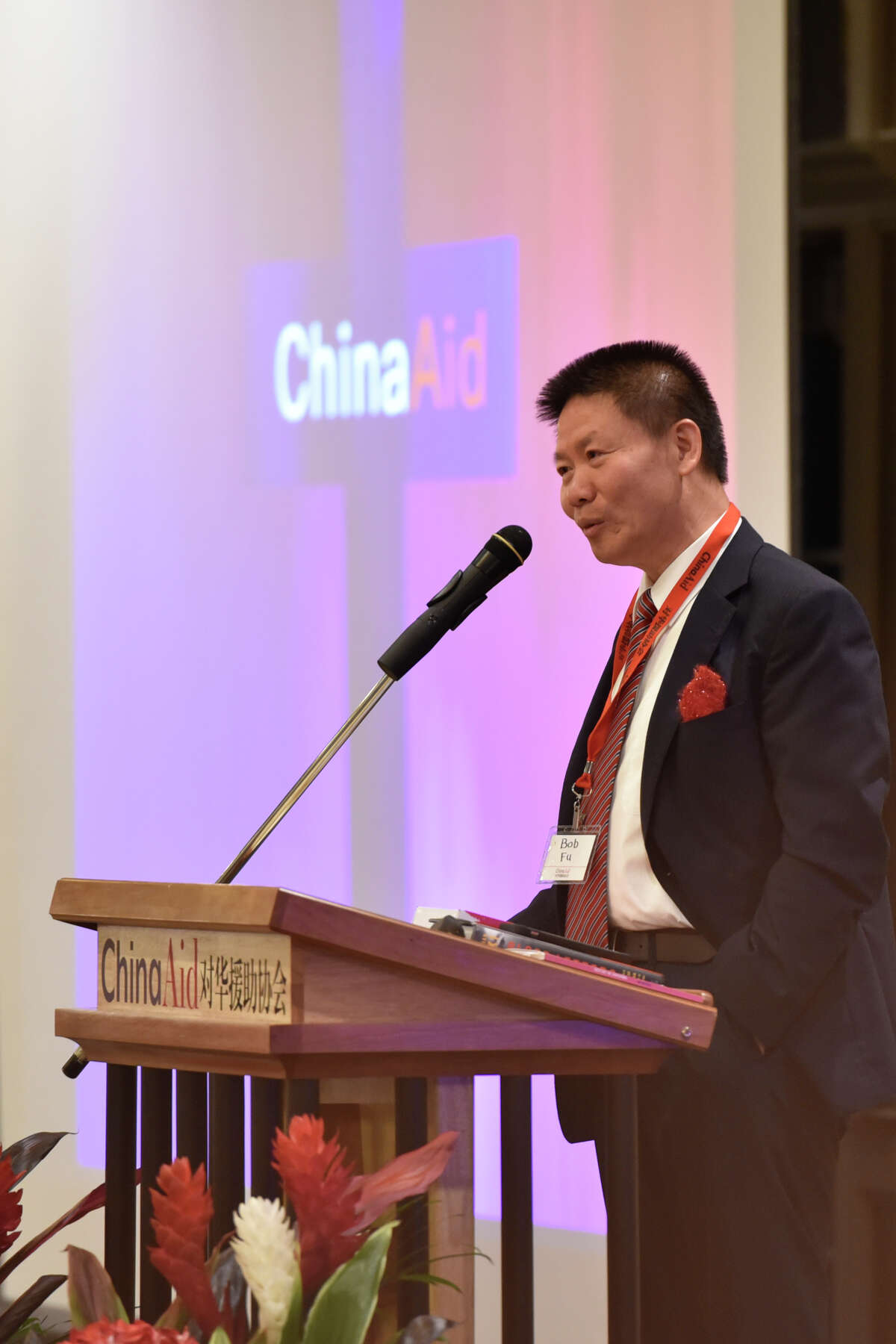 Dr. Bob Fu, Founder and President of the ChinaAid Association, speaks during the ChinaAid banquet April 25, 2019, at Midland Country Club. Protestors showed up outside of Fu's house on Monday, Oct. 5, 2020.