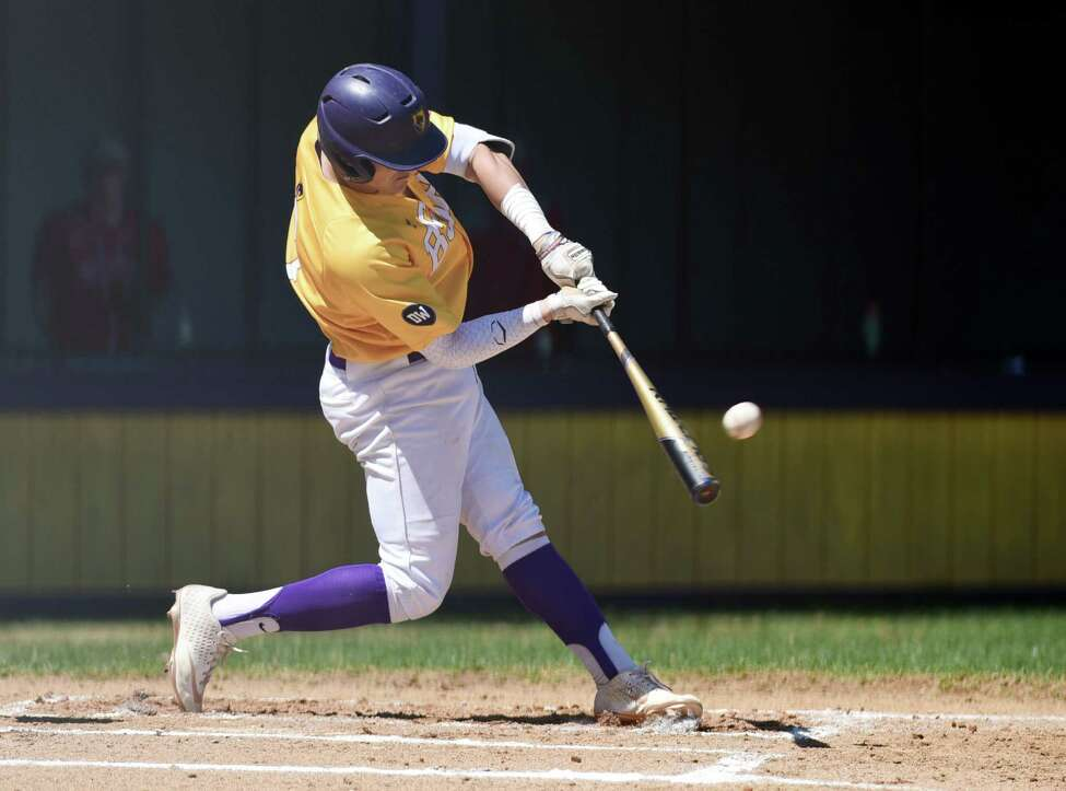 Ballston Spa's Luke Gold hits the first homerun of the game during a game against Niskayuna on Thursday, April 25, 2019 at Ballston Spa High School in Ballston Spa, NY. (Phoebe Sheehan/Times Union)