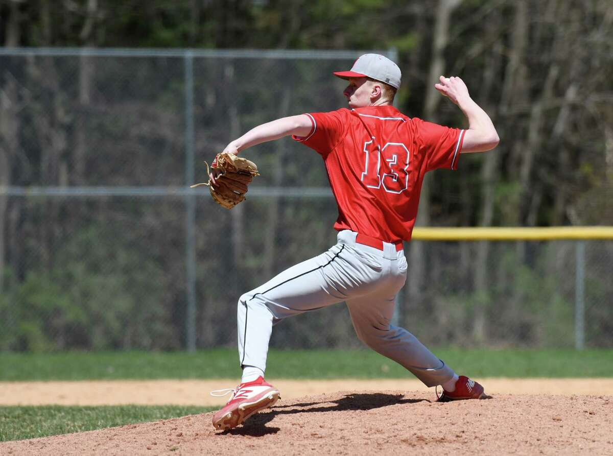 Niskayuna pitcher Tim Schaffer winds up for a pitch during a game against Ballston Spa on Thursday, April 25, 2019 at Ballston Spa High School in Ballston Spa, NY. (Phoebe Sheehan/Times Union)