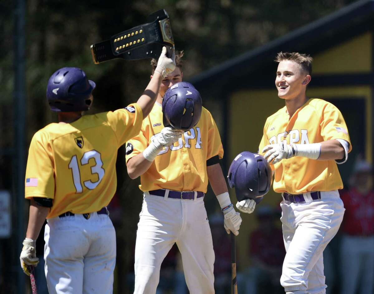 Ballston Spa's Luke Gold is celebrated by his teammates after hitting the first homerun of the game against Niskayuna on Thursday, April 25, 2019 at Ballston Spa High School in Ballston Spa, NY. (Phoebe Sheehan/Times Union)