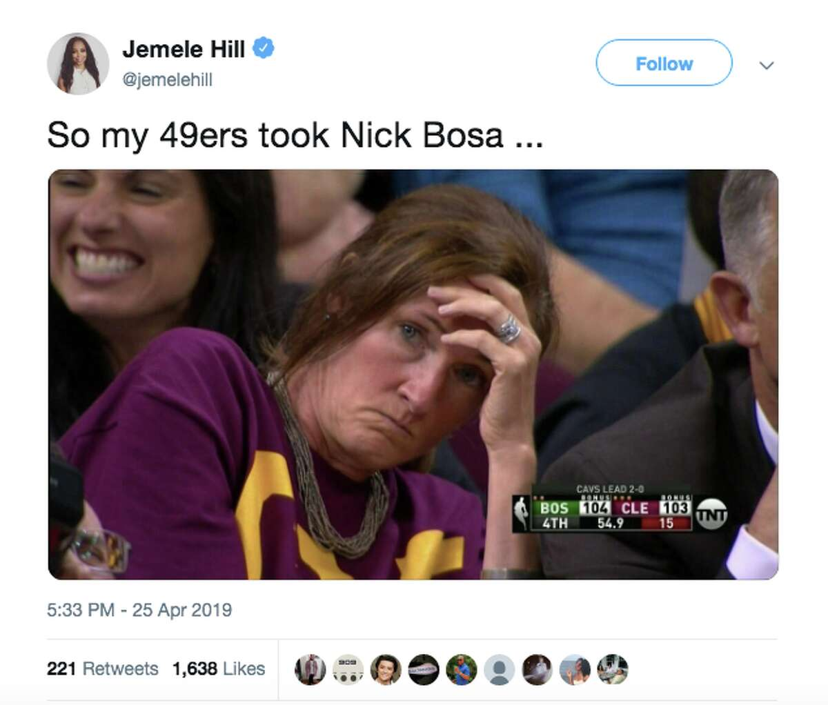 Some left-leaning 49ers fans were not happy after the team drafted Nick Bosa.