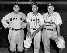Manager Joe McCarthy of the New York Yankees, Manager Mel Ott of the New York Giants and and Manager Leo Durocher of the Brooklyn Dodgers circa 1944 in New York City.
