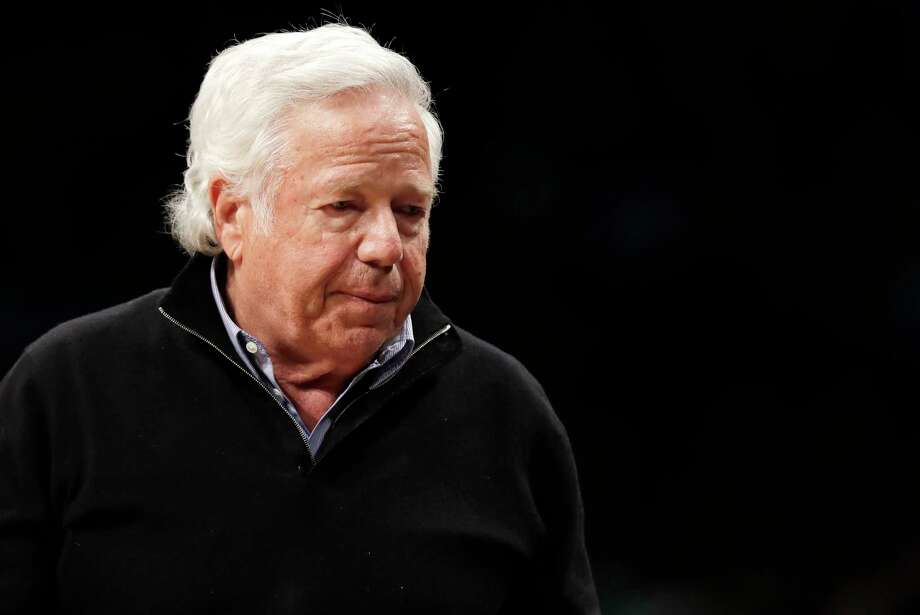 FILE - In this April 10, 2019, file photo, New England Patriots owner Robert Kraft leaves his seat during an NBA basketball game between the Brooklyn Nets and the Miami Heat, in New York. Prosecutors intend to release undercover video of Robert Kraft and others allegedly receiving sex acts at a Florida massage parlor, but that won?t be soon or perhaps ever. The Palm Beach County State Attorney?s Office filed a notice Wednesday, April 17, 2019, saying it believes the videos are public records under Florida law and it plans to release pixilated versions. Spokesman Mike Edmondson said the release is not imminent, as the office is processing numerous public records in the case. Kraft?s attorneys filed an emergency motion Wednesday to block the release. (AP Photo/Kathy Willens, File) Photo: Kathy Willens / Copyright 2019 The Associated Press. All rights reserved.
