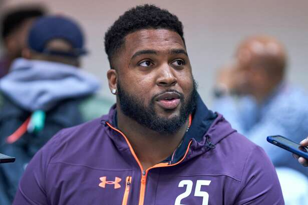 INDIANAPOLIS, IN - FEBRUARY 28: Alabama State tackle Tytus Howard answers questions from the media during the NFL Scouting Combine on February 28, 2019 at the Indiana Convention Center in Indianapolis, IN. (Photo by Robin Alam/Icon Sportswire via Getty Images)