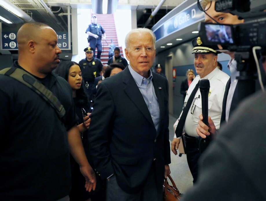 Former Vice President and Democratic presidential candidate Joe Biden arrives at the Wilmington train station Thursday April 25, 2019 in Wilmington, Delaware. Biden announced his candidacy for president via video on Thursday morning. (AP Photo/Matt Slocum) Photo: Matt Slocum / Copyright 2018 The Associated Press. All rights reserved